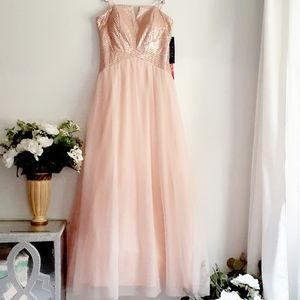Blush pink sequin prom/formal maxi dress